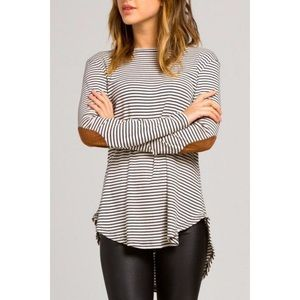 Striped long sleeve top with suede elbow patches
